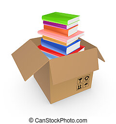 Colorful books in a carton boxIsolated on white3d rendered...
