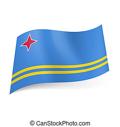 State flag of Aruba - National flag of Aruba: four-pointed...