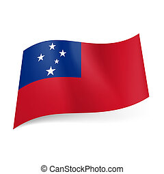 State flag of Samoa - National flag of Samoa: red background...