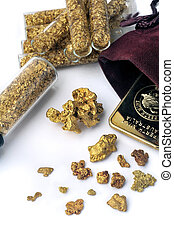 nuggets and gold bullion