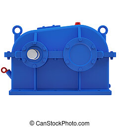Industrial gear unit 3d render isolated on white background