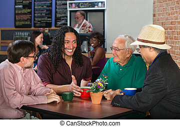 Mixed Group in Cafe - Mixed group of four adult men in cafe