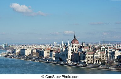 Parlament - City panorama of Budapest with the Parlament...