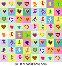 Background pattern with children silhouettes and hearts