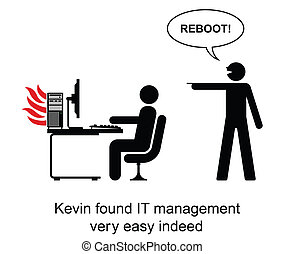 IT Manager - Kevin found IT management easy cartoon isolated...