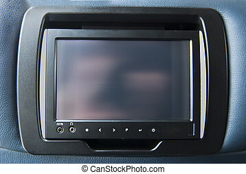 entertainment display in the bus or airplane seat