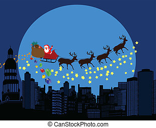 Santa claus and deers silhouettes flying over a city