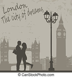 London vintage poster - Retro London grunge poster with...
