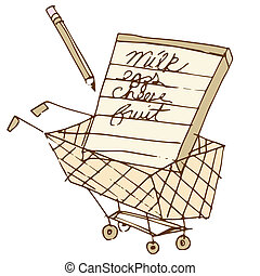 Shopping List Icon - An image of a shopping list in a cart.