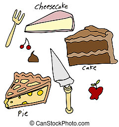 Cake and Pie Dessert Icon Set - An image of cake and pie...