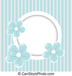 Retro striped background with frame and blue flowers