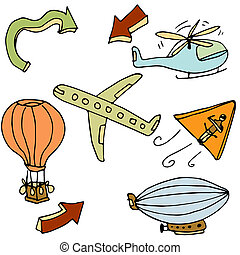 Air Travel Icon Set - An image of a air travel objects.