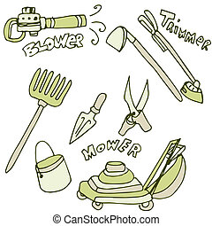 Gardening Tools Icon Set - An image of gardening tools