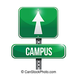 campus road sign illustration design over a white background