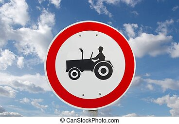 Tractor - No tractors allowed traffic sign