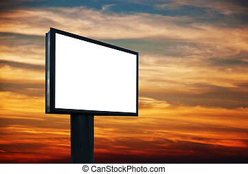 Blank billboard in sunset