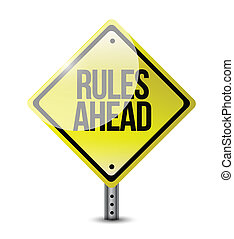 rules ahead road sign illustration