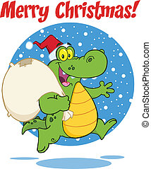 Merry Christmas With Crocodile - Merry Christmas Greeting...