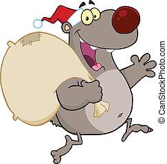 Santa Gray Bear Running With Bag