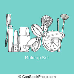 makeup set. cosmetics Set - cosmetics on a blue background
