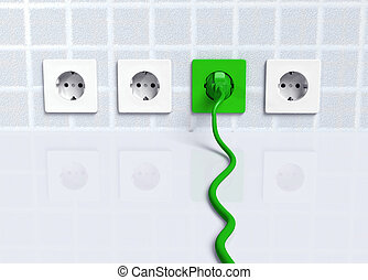 Ecological green plug into a socket - ecological green plug...