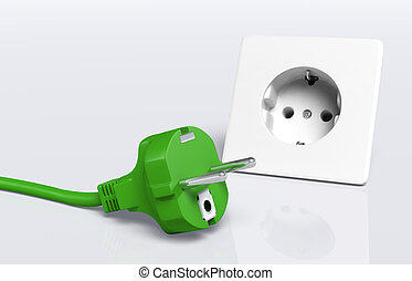 Green plug and socket - ecological european disconnected...