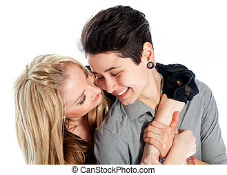 Same sex couple isolated on white background - Cute Lesbian...