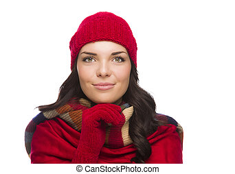 Happy Mixed Race Woman Wearing Winter Hat and Gloves
