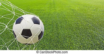 Soccer ball in a net.