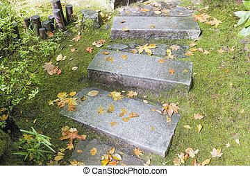 jardín, granito, piedra, pasos