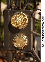 brass door handel - gate with door knob and key
