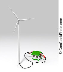 Wind generator charges a small house - a wind generator is...