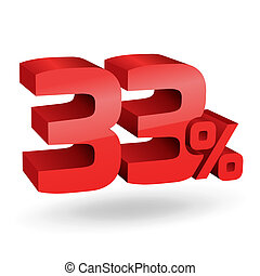 33 percent illustration - 33% percent; digits. Vector...