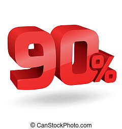 90 percent illustration - 90% percent; digits. Vector...