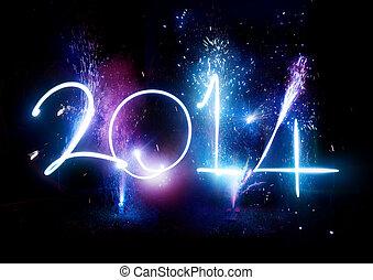 feliz, nuevo, año, 2014, fuegos artificiales