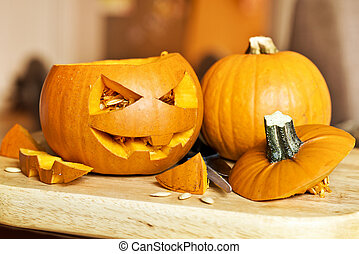 Carving Halloween Pumpkins - Carving up pumpkins into Jack O...