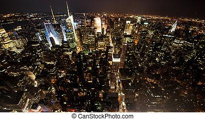 cidade, vista,  York, Novo, noturna