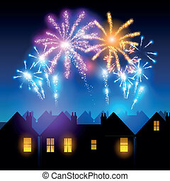 Fireworks Night - Fireworks lighting up the sky behind town...