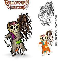 Halloween monsters scary cartoon rotten zombie EPS10 file.