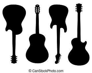 Guitars silhouettes - Isolated silhouettes of electric and...