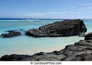 Black Rock in Rarotonga, Cook Islands - Black Rock, or...