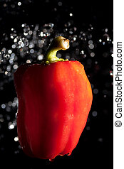 red pepper and water drops on black