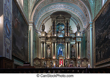 Catholic churchs altar in Quito, Ecuador
