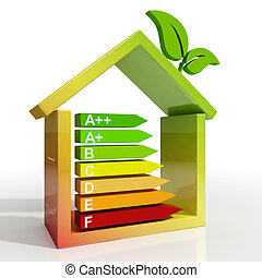 Energy Efficiency Rating Icon Showing Green House - Energy...