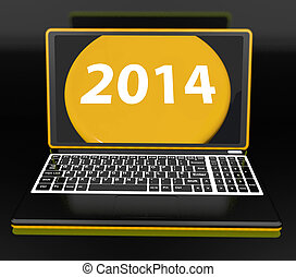 Two Thousand And Fourteen On Laptop Showing New Year...