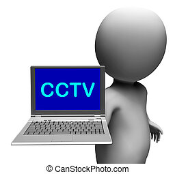 CCTV Laptop Shows Monitored Protection Or Monitoring Online...