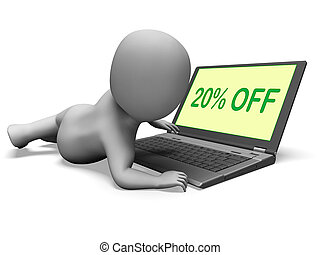 Twenty Percent Off Monitor Means 20% Deduction Or Sale Online