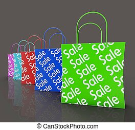 Sale Reduction Shopping Bags Shows Bargains Or Discounts