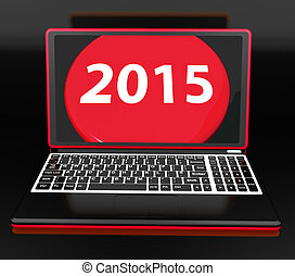 Two Thousand And Fifteen On Laptop Showing New Year...