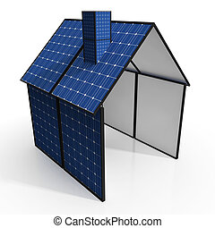 Solar Panel House Shows Renewable Energy Or Power